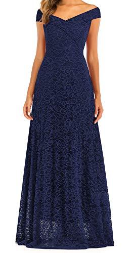 LA ORCHID Laorchid Damen Kleider Lang Spitzenkleid Abendkleid Ärmellos Schulterfrei Kleid Brautjungfern Cocktailkleid Blau XL