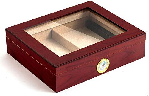 PANGPANGDEDIAN Humidor de cigarros con higrómetro y humidificador, Almacenamiento de cigarros, humidor, Caja de visualización de cigarros Caja Decorativa (Color : Wine Red)