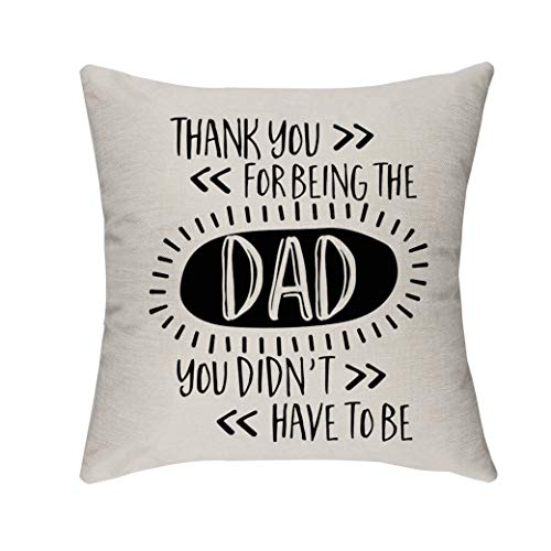 Morges Thank You for Being The Dad You Didn't Have to Be Father's Throw Pillow Covers, Gifts for Dad Daddy, Family Room Decor, Father's Decorative Square Couch Pillow Cases 18' x 18'