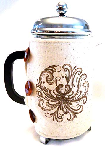 Integrity Designs Scandinavian Rosemaling Embroidered French Press Cozy with Gift Card and Envelope