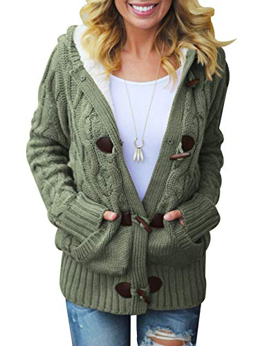 LANREMON Women Cardigan Sweaters Fleece Cable Knit Sweater Button up Soft Coat Winter Outwear with Pockets Army Green