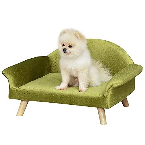 Pawhut Sofá Cama para Mascotas Sofá para Perros Gatos con Cojín Acolchado Extraíble Patas de Madera 73x58x37 cm Terciopelo Latón
