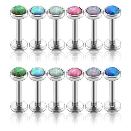 PiercingJ 2-12pcs 16G 316L Stainless Steel Cartilage Tragus Earrings 3mm Round Opal 5/16' Barbell Ear Stud Helix Lip Labret Monroe Earring Birthstone Body Piercing Jewelry