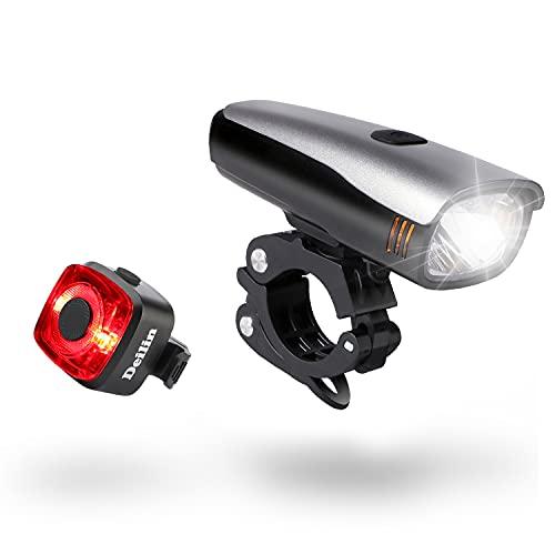 Deilin Fahrradlicht Set - Fahrradlicht Vorne, Fahrrad Licht LED Fahrradbeleuchtung USB Aufladbar Akku StVZO Zugelassen IPX5 Wasserdicht Fahrradlampe 2 Licht-Modi Fahrradlichter