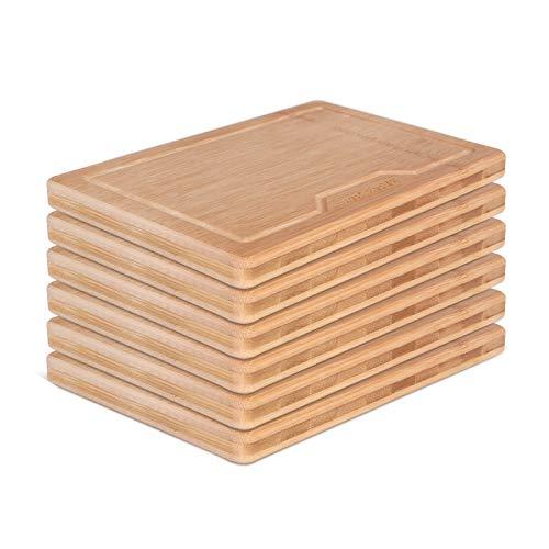 BAMBUMI Frühstücksbrettchen Bambus-Holz, Schnittflächen aus einem Stück Bambus, Holzbrettchen, Servierbrett, Küchenbrett, Brotzeitbrett, 24x17x1,8 cm, 6er Set