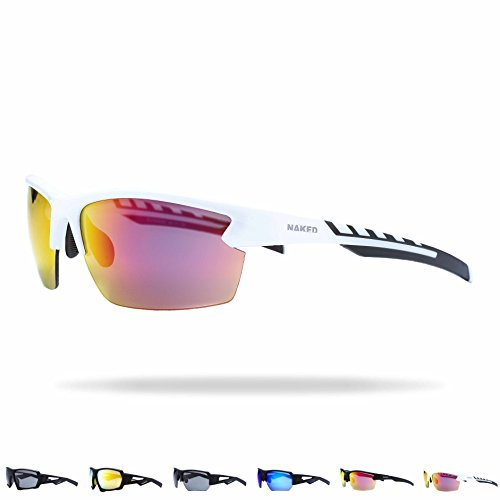 NAKED Optics Sportbrille Rush (Halfframe White/Lens Red)