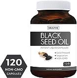 Black Seed Oil - 120 Softgel Capsules (Non-GMO & Vegetarian) Premium Cold-Pressed Nigella Sativa Producing Pure Black Cumin Seed Oil with Vitamin E - Made in The USA - 500mg Each, 1000mg Per Serving
