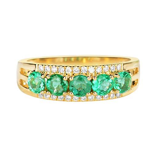 18K Yellow Gold Diamond Ring, Women's Fashion Emerald Quartz Wedding Engagement Stacking Cocktail Ring Band,15(17.2mm)