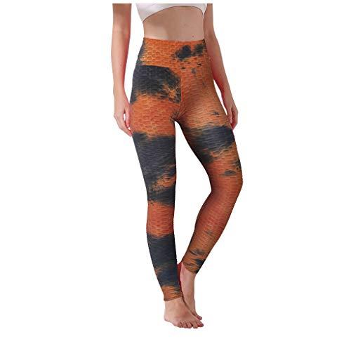 Leggins para las Mujeres Gimnasio, Elástico De Talle Alto, Adelgazar Deportes Medias De La Cadera Push Up Al Aire Libre Ejecución De Yoga Pantalones Negro naranja S