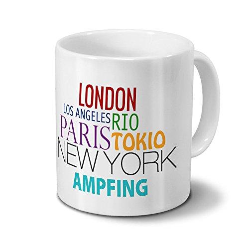Städtetasse Ampfing - Design Famous Cities of the World - Stadt-Tasse, Kaffeebecher, City-Mug, Becher, Kaffeetasse - Farbe Weiß