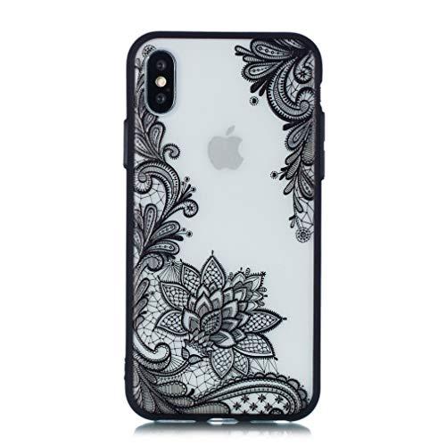 Keyihan iPhone 6 / 6S Custodia Cover Sollievo Pizzo Modello Datura Mandala Fiore Protettiva Bumper Caso Rigida con Silicone Morbido Bordo per Apple iPhone 6 6S (Nero Paisley Fiore)