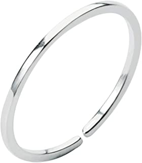 Minimalist 1mm Midi Thin Open Band Ring S925 Sterling Silver Adjustable Stacking Wedding Promise Rings for Women Girls Men