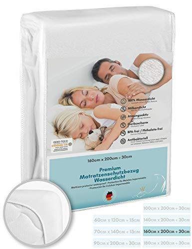 Luxusfeder - Matratzenschutz wasserdicht 160x200 cm - Matratzenschoner Öko-Tex - Bester Nässeschutz - Sanitized® Hygieneschutz gegen Milben, Bakterien - optimal für Allergiker - atmungsaktiv