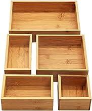 INTERGREAT 5-Piece Bamboo Storage Box Drawer Organizer Set Storage Organizer Divider for Office Desk Supplies and Accessories