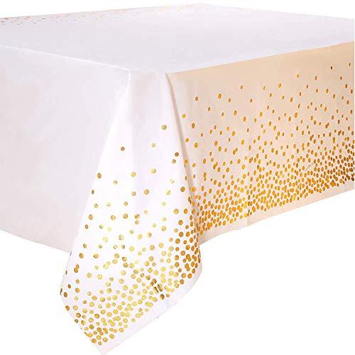 Mantel Desecheble Fiesta Oro Blanco Mantel Plástico Rectangular Dorado Cubierta de Mesa para Despedida de Soltera, Compromiso, Boda, Housewarming, Banquetes,137 cm x 274 cm,4PCS