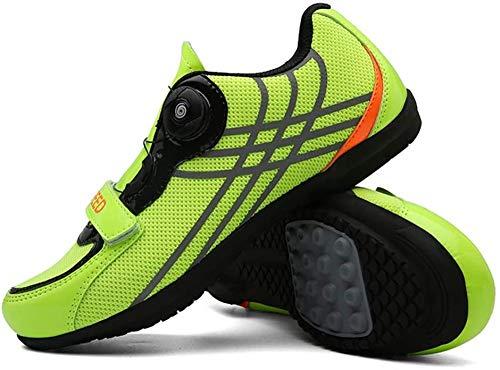 KUXUAN Zapatillas De Ciclismo para Hombre Zapatillas De Bicicleta Carretera Hebilla De Doble Espina De Fibra De Carbono Ultraligeras Zapatillas De Deporte con Cierre Automático,Green-44EU