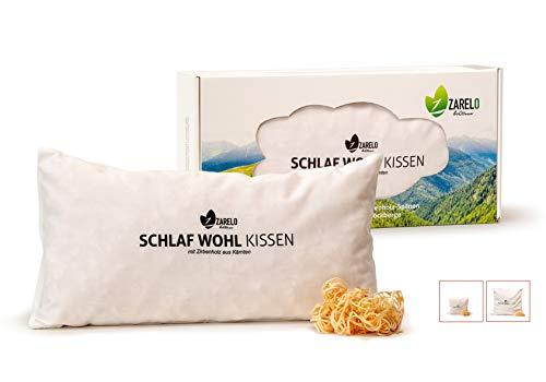 ZARELO Bio Zirbenkissen zum Schlafen, 100% gefüllt mit Zirbenspänen, original Zirbenholz aus den Alpen, Zirbenduft für erholsamen Schlaf, 20x40 cm Zirbenholzkissen, Bezug aus Bio-Baumwolle