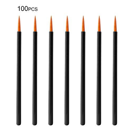 FinukGo 100pcs / lot maquillage jetables Eyeliner pinceaux applicateur individuel Superfine fibre coton tige outil de maquillage accessoires cosmétiques - noir et orange