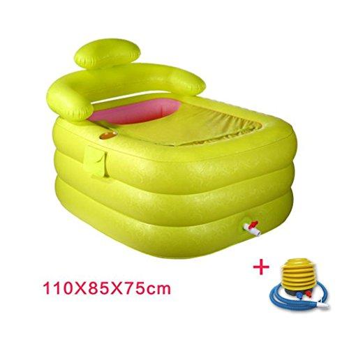 LJF bain gonflable Baignoire gonflable Baignoire pour adultes Baignoire pliante Baignoires en plastique Laver la baignoire Baignoire pour enfant ( Couleur : Vert , taille : 110*85*75cm )