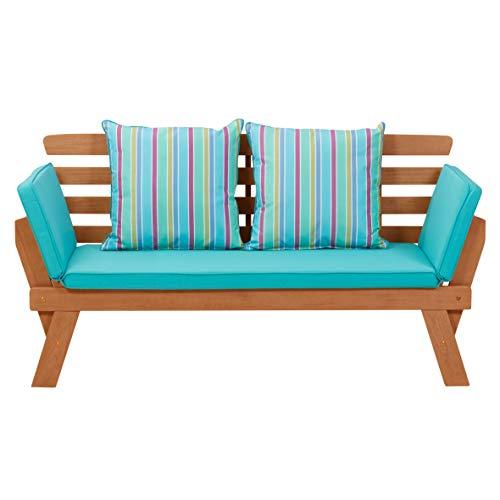 greemotion Multifunktionsbank Borkum akazie/blau, inklusive Kissen, als Sofa und Liege nutzbar, Gartenbank aus FSC® Akazienholz, Holzbank mit leicht schräger Rückenlehne - 11