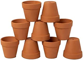 AHXML 9 Pcs 3'' Small Terracotta Flowerpot with Drainage Hole for Indoor or Outdoor Plant Gardening