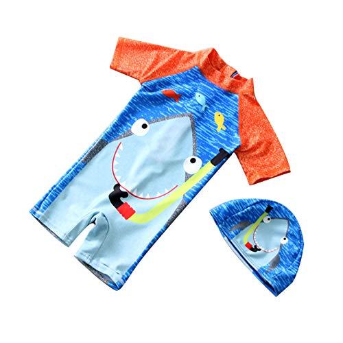 Traje de baño de una Pieza para bebés y niños Traje de baño con Cremallera en la Espalda con patrón de tiburón Lindo con Sombrero para niños (Shark Pattern - Blue, L)