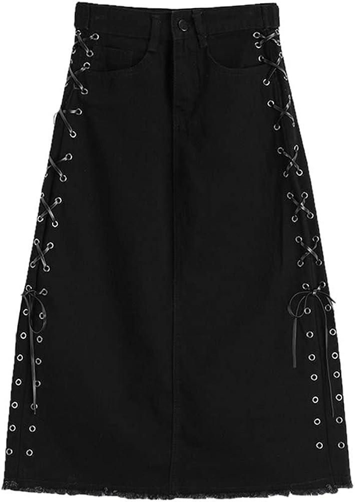 NP Skirt Women Black Side Up Waist A-Line Skirt Streetwear Loose