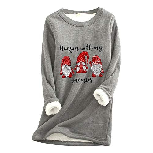 Lazzboy Pullover Frauen Weihnachten Weihnachtsmann Dickes Fleece Printing Oversized...
