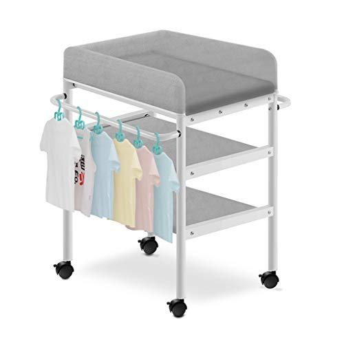 LAMXF Wickeltablett für Kommode/Wickeltisch mit Rollen und Ablage für Newborn Baby Dresser/Neugeborenenstation/Wickelstationen für das Schlafzimmer/Polster und Sicherheitsgurt wechseln