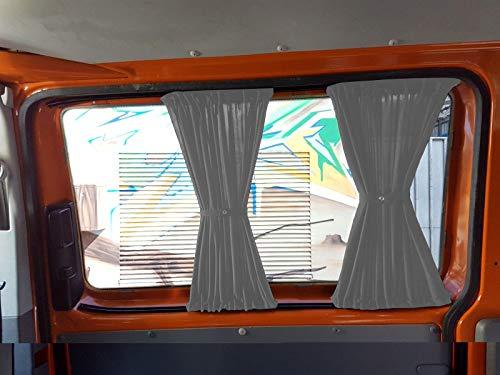T5 und T6 Transporter kurzer Radstand Maß Gardinen Vorhänge Sonnenschutz mit Heckklappe Farbe: Grau