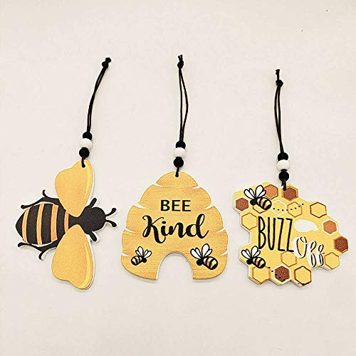 KONGMAODS 3 Pcs Personality Bee Hanging, Wooden Bee Honeycomb Hanging Decor, Stained Honeycomb with Bumble Bee Charm Suncatcher Hanging Decoration, Happy Bee'S Day Home Garden Patio Bee Ornament,Mix