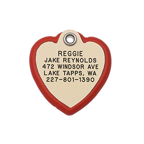 LuckyPet Pet ID Tag - Heart Frame Tag - Dog & Cat Tags - Deeply Engraved - Size: Medium, Ivory Plastic Tag, Red Plastic Frame