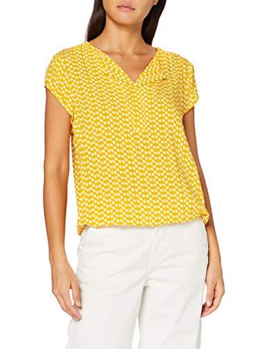 TOM TAILOR Damen V-Neck Bluse, 22740-yellow dot Design, 36