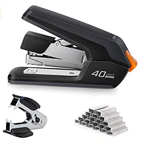 Leven Effortless Heavy Duty Desktop Stapler, One Touch Stapling, Easy to Load Ergonomic Stapler, 40 Sheet Capacity, Includes 2000 Staples and Staple Remover