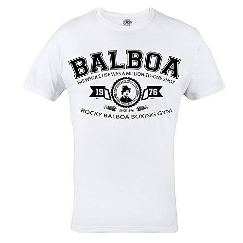 Rule Out Camiseta Prenda de luchaRocky Balboa. Boxeo Gimnasio entrenamiento. Ropa Deportiva.Crossfit. Marcial ArtesInformal - Blanco, Large