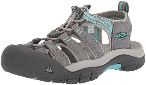 KEEN Women's Newport Hydro-W Sandal, Steel Grey/Blue Turquoise, 9 M US