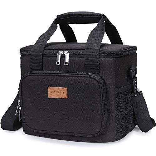 Lifewit 15L Kühltasche Picknicktasche Lunchtasche Mittagessen Tasche Thermotasche Kühltasche Isoliertasche für Lebensmitteltransport,Schwarz