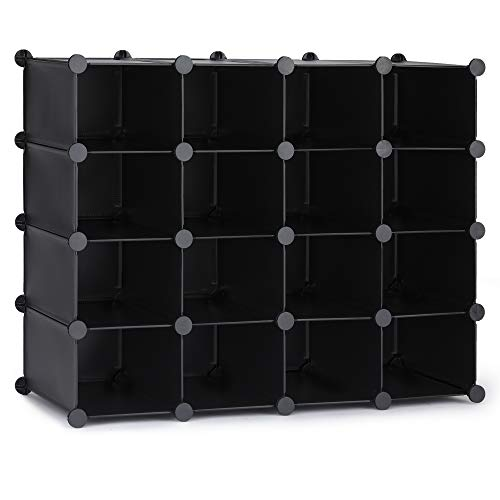 Puroma 16-Cube Stackable Shoe Organizer Plastic Shoe Storage Rack Durable Modular Shoe Cabinet, Space Saving for Closet Hallway Bedroom Entryway...