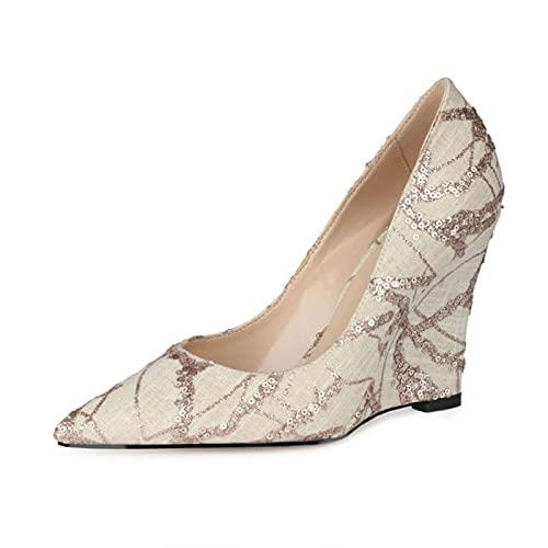 Zapatos De Tacón Mujer,Sandalias Puntiagudas, Asakuchi Tela Color Sólido Lentejuelas Tacón Alto Moda El Verano Talón Pendiente Juego De Pies Zapatos Individuales Por Boda Fiesta,Beige,37EU
