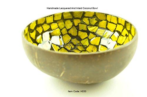 Fait à la main décoratifs Bol en noix de coco, laqué et incrusté de Sea-shell Collection d'articles naturelles, forme ronde, Jaune, H030