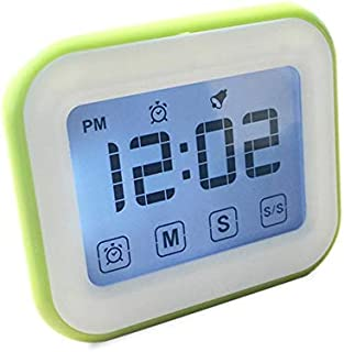 Womdee Timer Digital Alarm Clock, LCD Touchscreen Magnetic Backing Come with Night Light 2 Modes Mute/Ring, Green