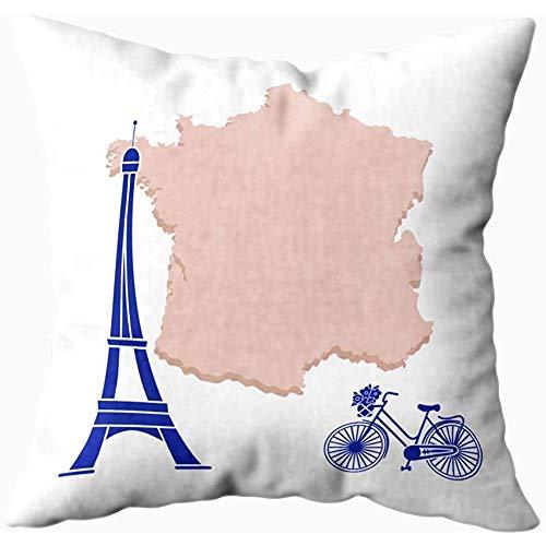Eliuji kussenslopen 45X45cm, kaart Frankrijk Beroemde Toren Parijs Fietsmand Bloemen Reizen Vrije tijd bank kussenslopen, Home