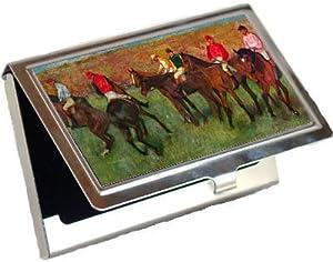Horse Race Before the Start By Edgar Degas Business Card Holder