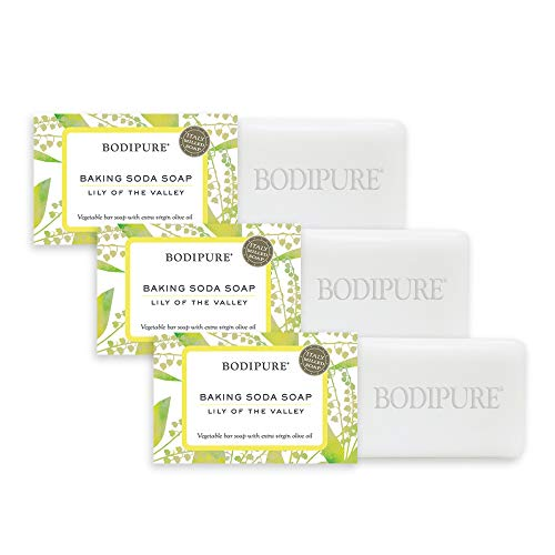 BODIPURE Natural Baking Soda Soap Bar, Lily of the Valley Scent, Extra Virgin Olive Oil, Gentle, Exfoliating, Refreshing, Face and Body Soap - Luxury Italian Made --3 Pack - Each Bar 4.4 oz with Free Anti-Aging Hand Mask