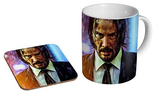 John Wick Keanu Reeves Bunte Keramik Kaffeetasse + Untersetzer Geschenkset ...
