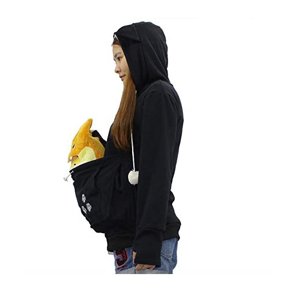 Sweatshirt womens kyleon kangaroo pet dog cat holder carrier coat pouch large pocket hoodie top 2 🐱fun pet hoodie - the large pouch of this women shirt is good for holding a small dog or cat anywhere. It is not only a ideal tool for helping you to carry small pets like chihuahua or kittens around and socialize, but also helping to keep your hands free! 🐱special design - cat ears on the hoodie; pom-poms balls draw strings; big pocket for pokemon plushies and snacks; front pocket for cell phone and hands; cat paw sleeves with thumb holes material 🐱comfort material- 65% polyester,35% cotton. Soft, elasticity, stretchy, comfortable, breathable, skin-friendly, stretchy and lightweight,🐱convenience washing - the women shirt is humanized designed because the inside pocket liner can be removed and washed separately. 🐱perfect gift - makes a fun halloween costume idea. The women hoodie is a little thin that it is very suitable to wear all year round. In winter, it's a good idea to wear with t-shirt underneath. Great gift for a cat lover and cat who is spoiled and christmas. Snuggly. 🐱occasion:suitable for casual,party, work, date, school, sports, vacation, street wear or casual everyday wear, casual style, relaxed fit, pullover hoodie sweatshirt sweater for women, ladies, juniors, teen girls.