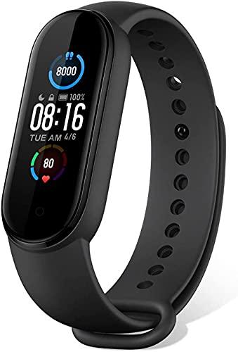 Mi Band 5 Fitness Tracker Armband [Version 2020] 1.1' Bildschirm Sport SmartwatchAktivitätsmonitor 5ATM Schrittzähler Uhr für Damen Herren Kinder Wasserdicht Schwarz Smartband IOS Android Original