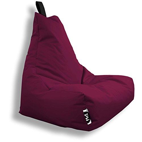 Patchhome Lounge Pouf pour Gamer avec Coussin d'assise et Coussin de Chaise Convient pour l'extérieur, Rouge Bordeaux, XL