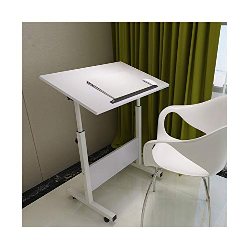 FGYUI Stand Height Adjustable W/Lockable 4 Castors, Overbed Table Small Computer Desk (Color : Pure White, Size : 80X40)