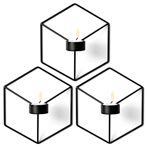Nordic Style Wall Candle Holder Minimalist 3D Geometric Candlestick Ornaments Sconce Small Tealight Home Decoration,Black 3PC